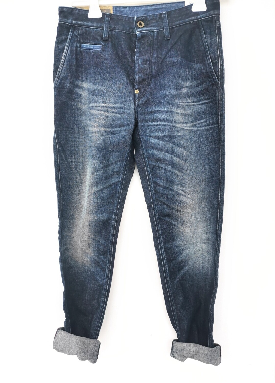 Jeans regular tapered in rigid denim