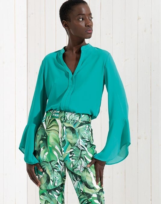 Georgette blouse with long bell sleeve