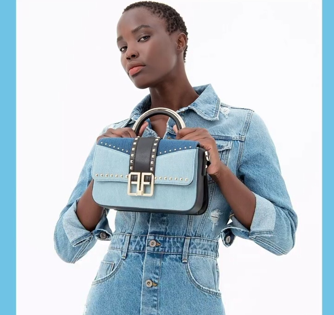 Shoulder bag in eco leather with denim inserts