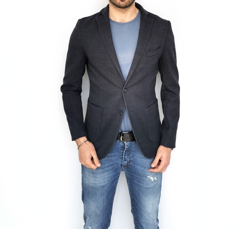 Wool blend stretch fabric jacket