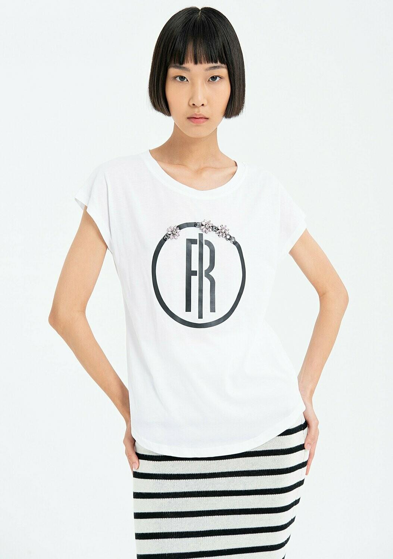 T-shirt svasata in jersey con logo FRACOMINA