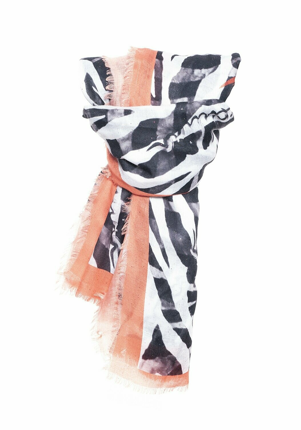 Animal print scarf with fringes