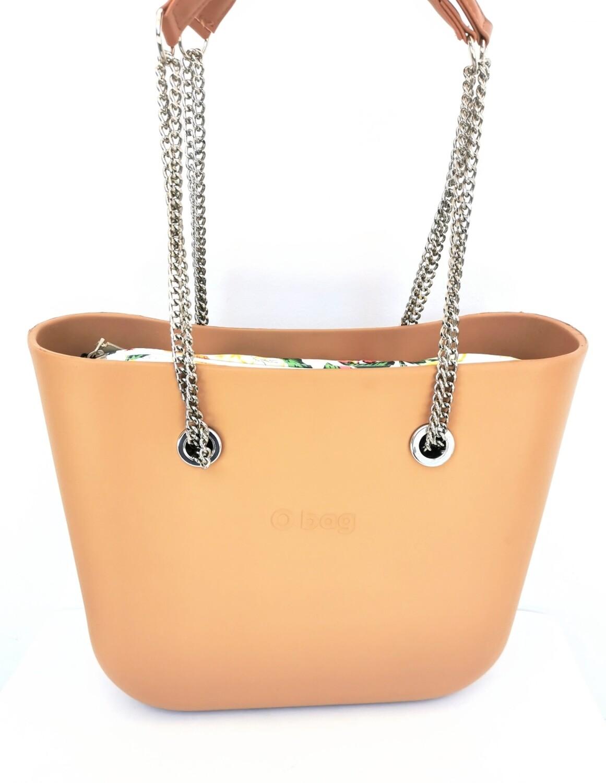 O bag mini con manici lunghi a catena