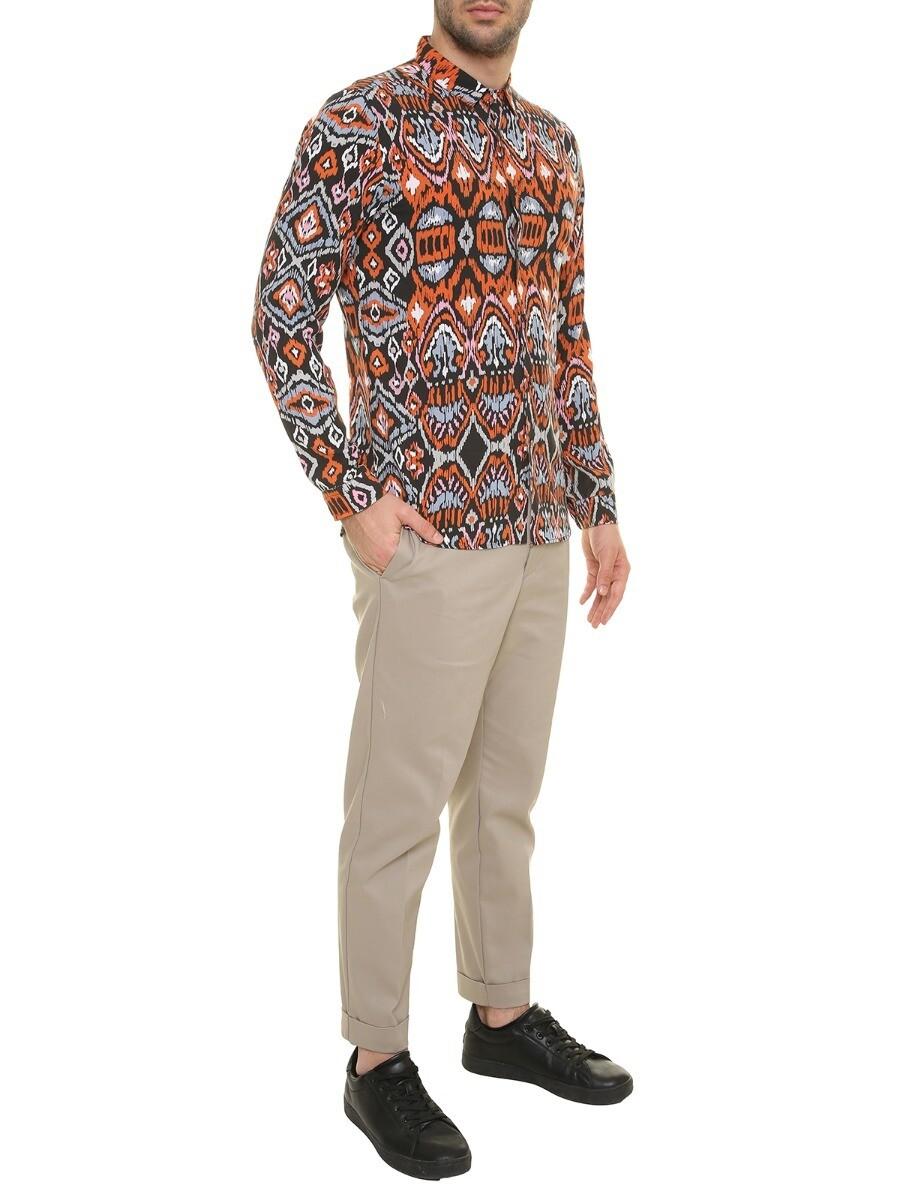Camicia fantasia astratta multicolor