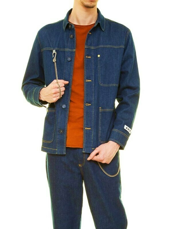 Denim jacket with chain