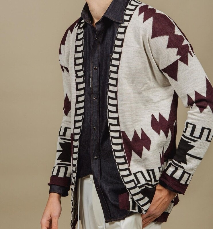Long cardigan with indios pattern