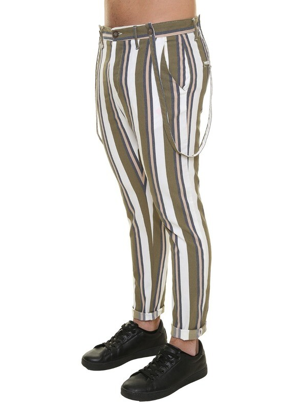 Striped pants with suspenders