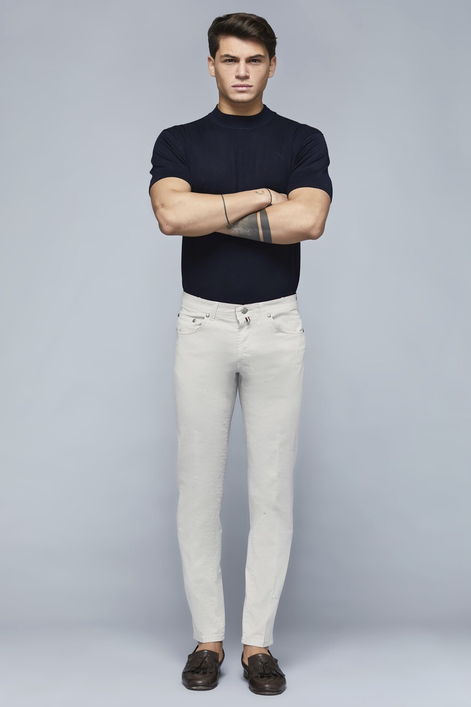Pantalone capri slim in cotone stretch