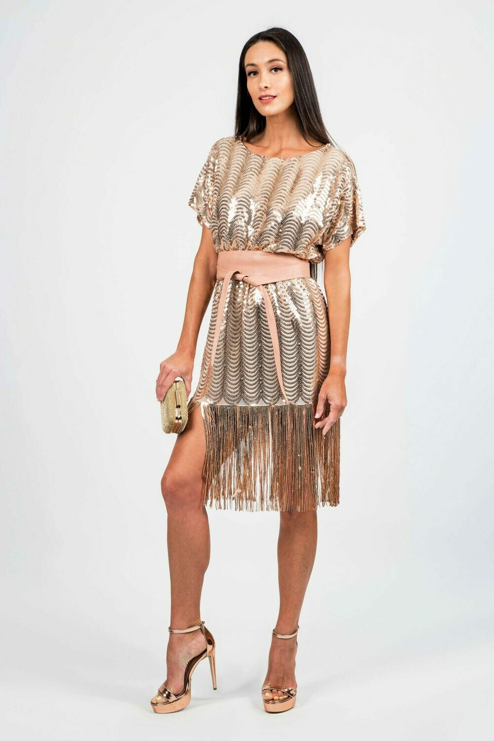 Sequined dress with fringes