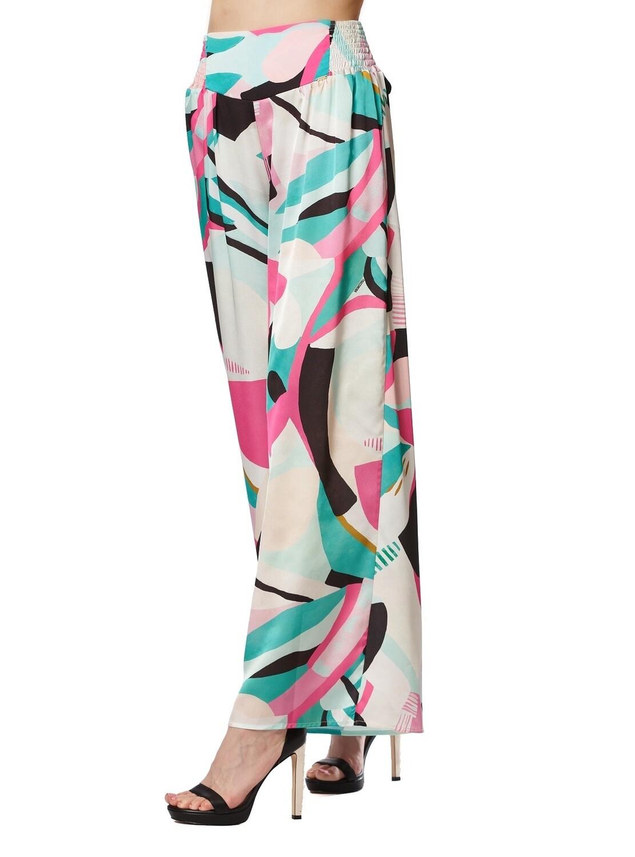 Pantalone palazzo a fantasia astratta multicolor