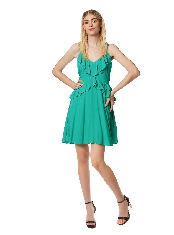 Flared mini dress with ruffles