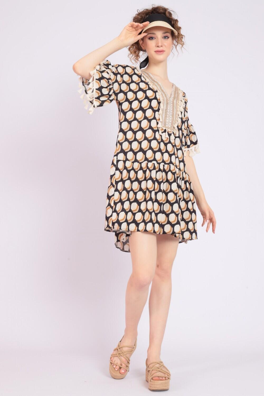 Mini abito con ricamo e nappine