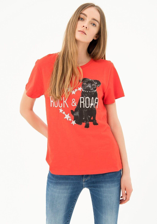 T-shirt con strass e stampa artwork