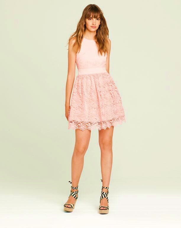Stretch fabric dress with lace skirt