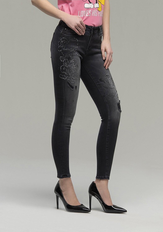 Skinny jeans with Disney characters rhinestones