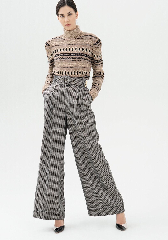Pantalone palazzo in tweed