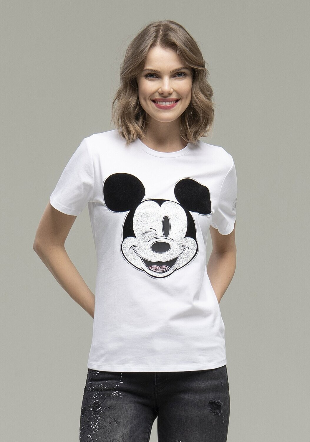 T-shirt regular con stampa Mickey Mouse