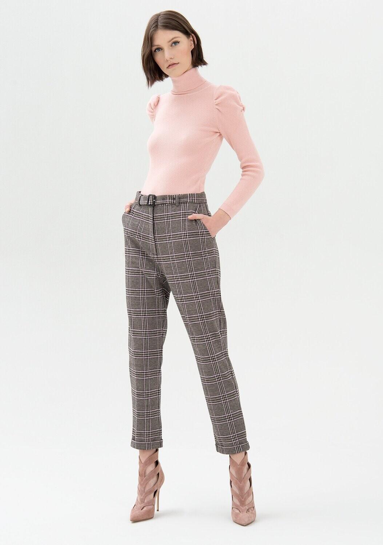 Pantalone chino  in tessuto Principe di Galles