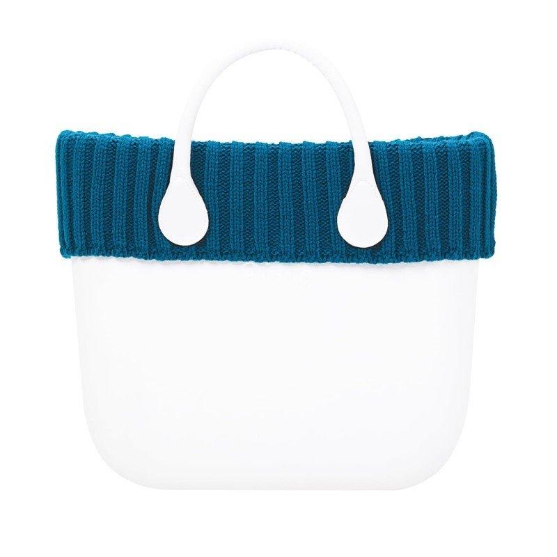 O bag mini. bordo lana coste larghe ottanio