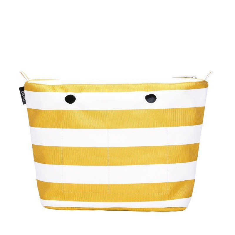 O bag inner bag in fabric with two-tone striped pattern