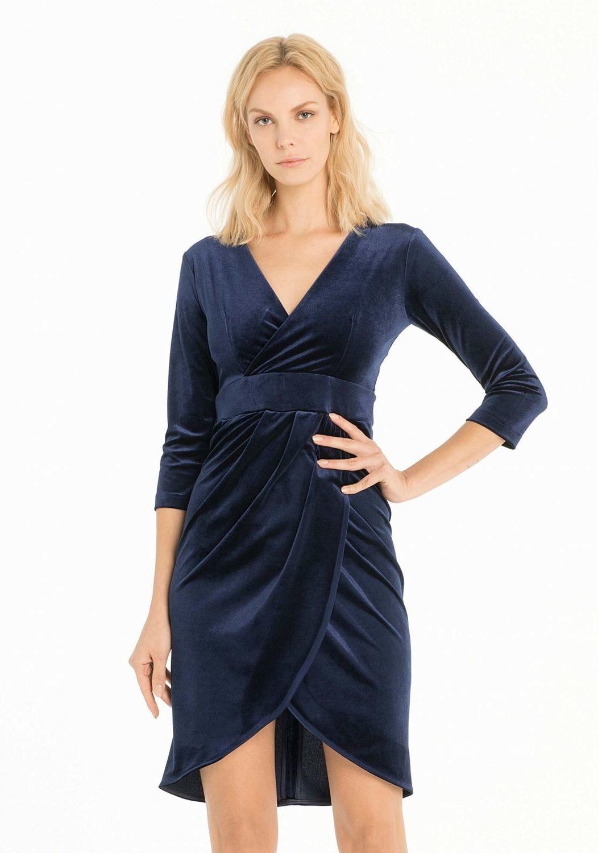 Vestito di velluto blu fr18fmnicolina