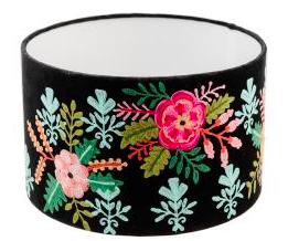 Drum Lampshade - Embroidered Black