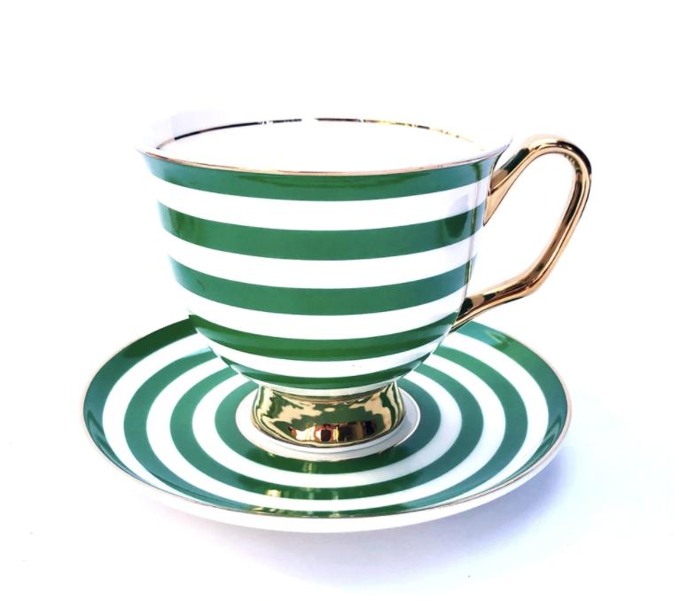 Teacup & Saucer XL - Green Stripe