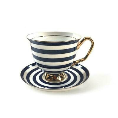Teacup & Saucer XL - Navy Blue Stripe