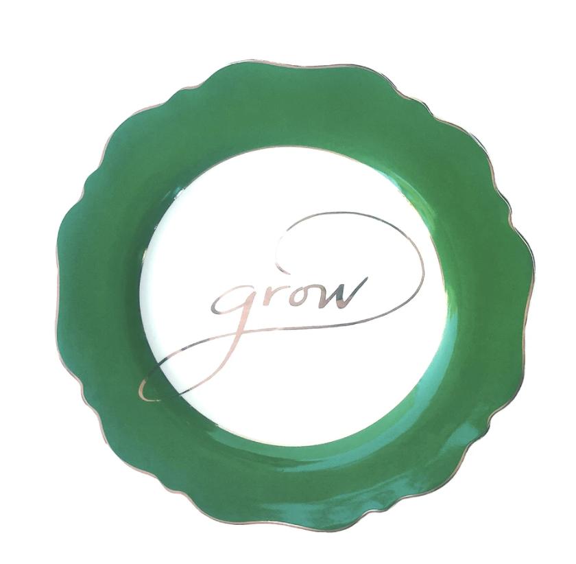 "Fine China - Green ""Grow"" Side Plate"