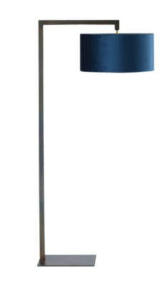 French Blue Velvet Floor Lamp