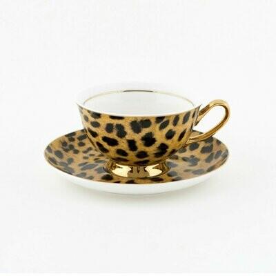 Teacup & Saucer - Leopard Print