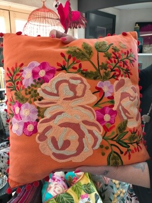 Cushion : Coral Embroidered