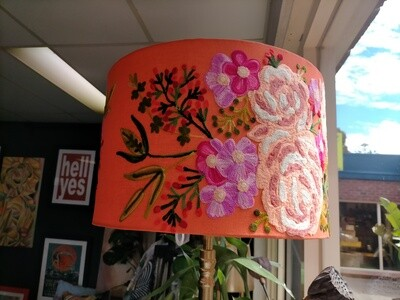 Drum Lampshade - Embroidered Coral