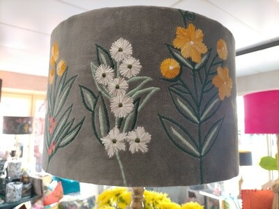Drum Lampshade - Embroidered Grey Natives