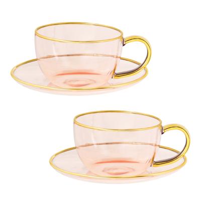 Tea Cups Rose Glass Set of 2