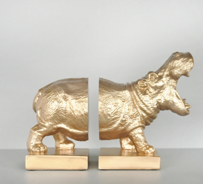 Hippo Bookends