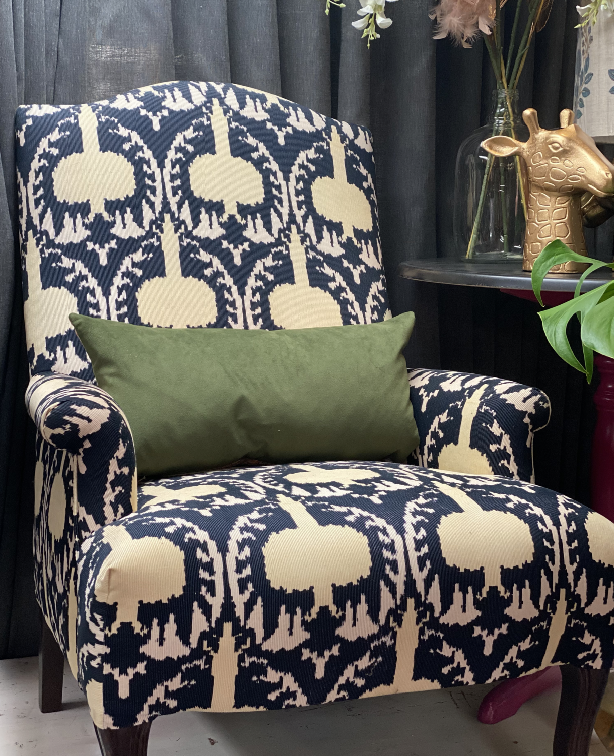 Luxurious Corduroy Ikat Occasional Chair