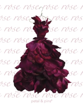 Red Wine rose gown tea towel