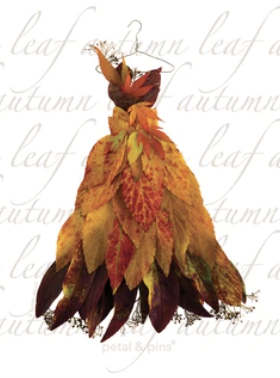 Autumn Leaf dress tea towel