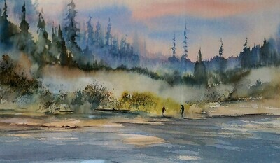 Harrison River, Watercolour by Errol Brimacombe. Pre-Owned