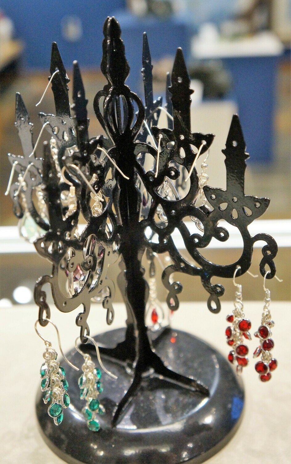 Argentium Silver Earrings, with Rhodium and Swarovski Crystals, by Manfred Rust