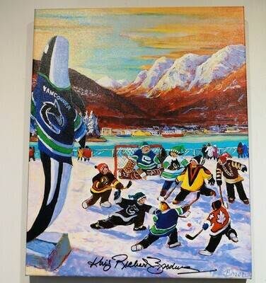 Giclee, Canucks on the Plaza, by King Richard Brodeur