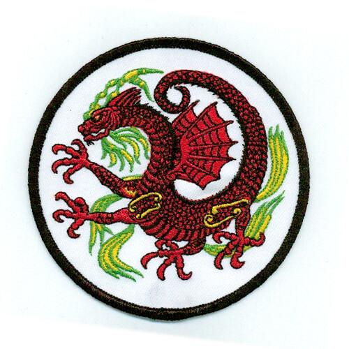 "Patch, Animal, Dragon w/ Wing, Circle, White, 4"""