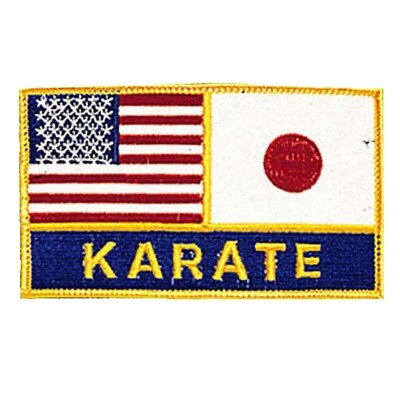 Patch, Flag, USA & Japan w/ Karate