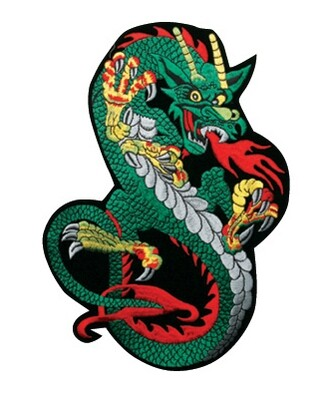 Patch, Animal, Dragon, Crouching, Blue