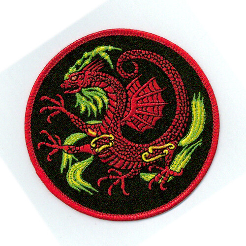 Patch, Animal, Dragon w/ Wing, Circle, Black, 4""