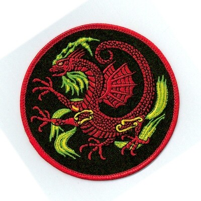 Patch, Animal, Dragon w/ Wing, Circle, Black, 4