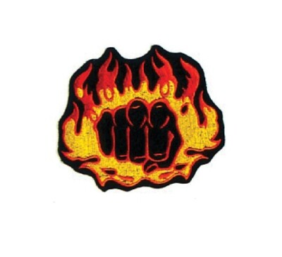 Patch- Logo, Fist w/ Flame 4""