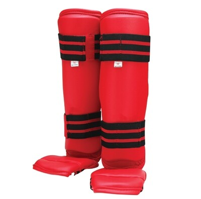 Shin and Instep Guard, Vinyl, Red