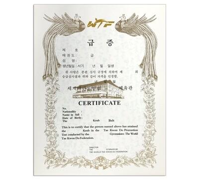Rank Certificate Taekwondo, WTF Logo